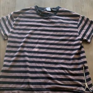 Urban Outfitters Striped Zipper Tee